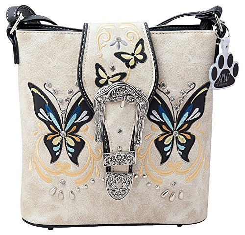 Butterfly Messenger Beige Concealed Western HW Handbag Crossbody Carry Bag Collection Buckle EA88W6qH