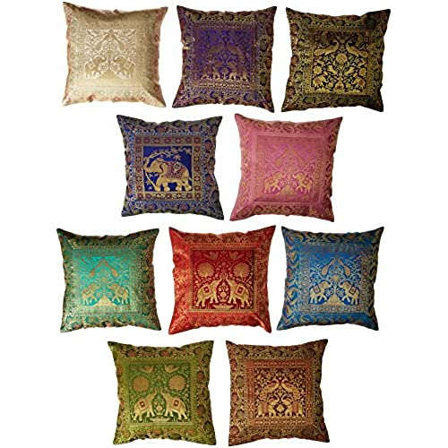 10 pc lot square silk home decor cushion cover indian silk brocade pillow cover handmade banarsi pillow cover 16 x 16 inch