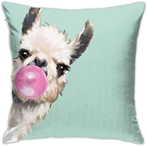 Cartoon Sneaky Llama Bubble Gum Green Throw Pillow Covers Decorative 18x18 Inch Pillowcase Square Cushion Cases for Home Sofa Bedroom Livingroom
