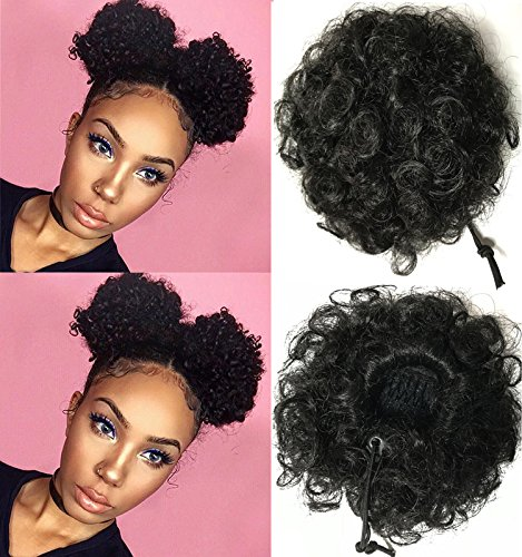 Beauty Forever Fashion Curly Ponytail, Twins Buns Clip In Elastic Drawstring Ponytail, African American Black Short Afro Kinky Curly Hair Extension, Synthetic Puff Hair(2 pieces)