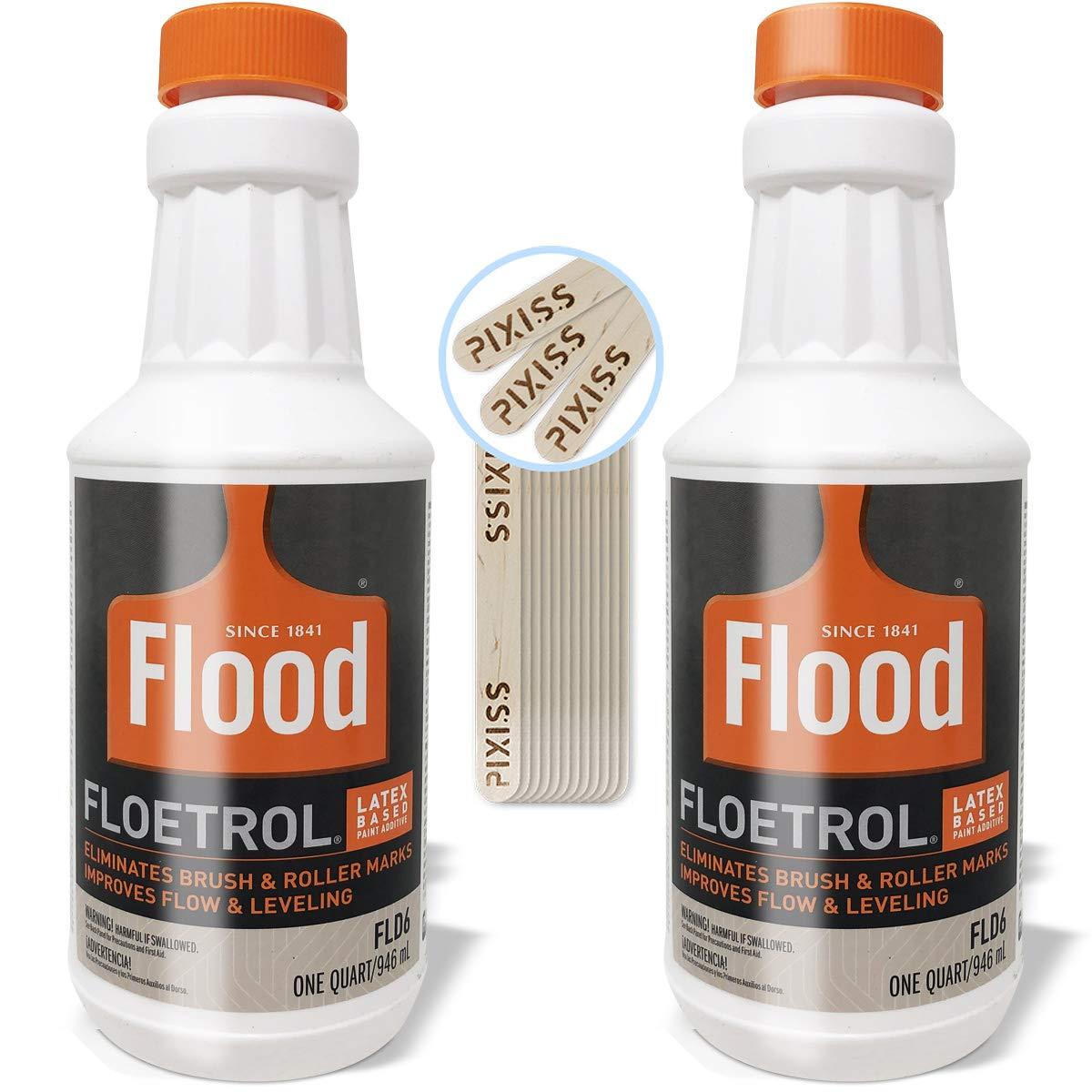 Floetrol Pouring Medium for Acrylic Paint   1 Quart Bottles (2-Pack)   Flood Flotrol Additive   20 Pixiss Wood Mixing Sticks Pouring Bundle
