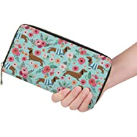 FUSURIRE Animal Dachshund Personalized Women Fashion Leather Travel Wallet Clutch Bag Purse Handbag Mint Green