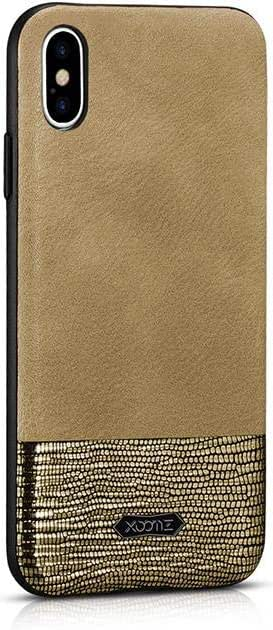 cover iPhone X/XS Splicing Brilliant PU Leather Back Cover gold by XOOMZ