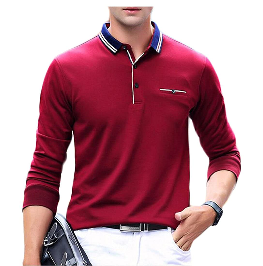 Generic Men's Loose Cotton Plus Size Lapel Long-sleeves Sweater With Pocket