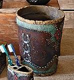 Turquoise Horseshoe and Cross Waste Basket