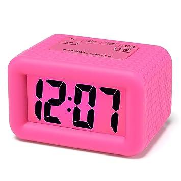 Reloj despertador digital LCD Plumeet de viaje, con gran pantalla, fácil de configurar,