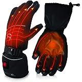 AKASO Heated Gloves for Men Women, Electric Heated Ski Gloves Best Gift, Black