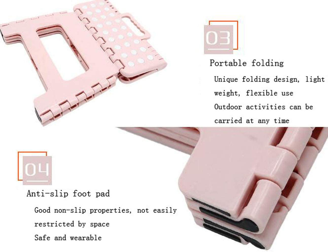 HUAQIGUO Folding step stool step stool folding step folding step stool for adults step stool for adults folding step (Pink,S) Pink
