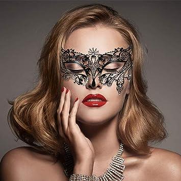 Uomo Donna Veneziano Masquerade Maschera Party occhi maschera Nera Fancy Dress Pizzo