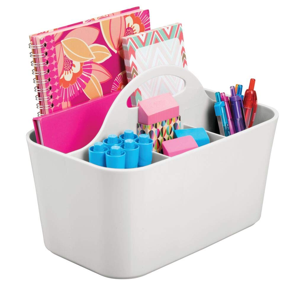 Small Pens Highlighters Notepads Markers mDesign School Supplies Desk Organizer Tote for Scissors Tape Pencils Clear