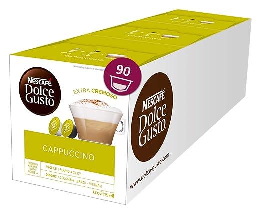 Nescafé Dolce Gusto Cappuccino, XXL-Vorratsbox, 90 Kapseln (45 Milch-, 45 Kaffeekapseln), 100% Arabica Bohnen, leichter Kaffe