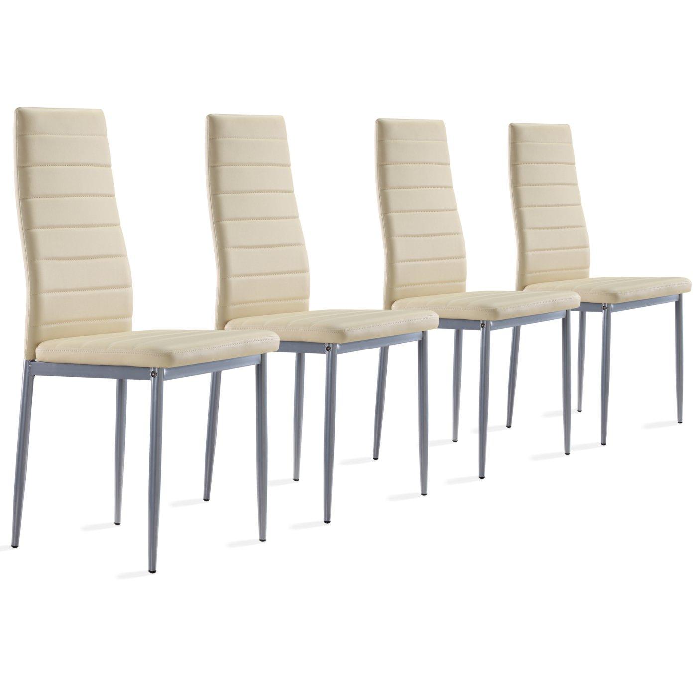 4 Stück Beige Stühle Esszimmerstühle, Küchenstühle Mit Hochwertigem  Kunstlederpolster: Amazon.de: Küche U0026 Haushalt