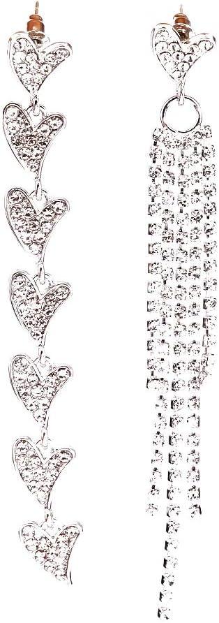 SOURBAN Asymmetric Man-Made Full Diamond Earrings with Heart Shaped Long Tassel Pendant Earrings,Golden