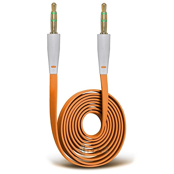 ONX3 (Orange) Lava X41 Plus Gold Plated 3.5mm Jack To Jack Connection Aux