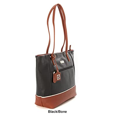 Amazon.com: Stone Mountain Pebble Leather Talia Tote Handbag (Black ...