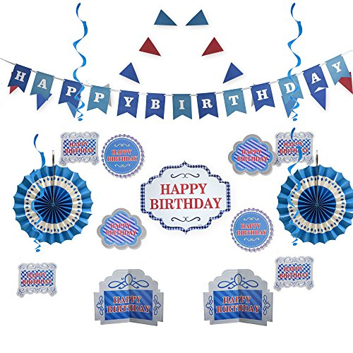 Blue Happy Birthday Party Decorations - Supplies Set for Boy & Girl Kids - Adult Women & Men - Includes Happy Birthday Banner with White Letters, Garlands, Paper Fans, Centerpieces, Wall Cutouts