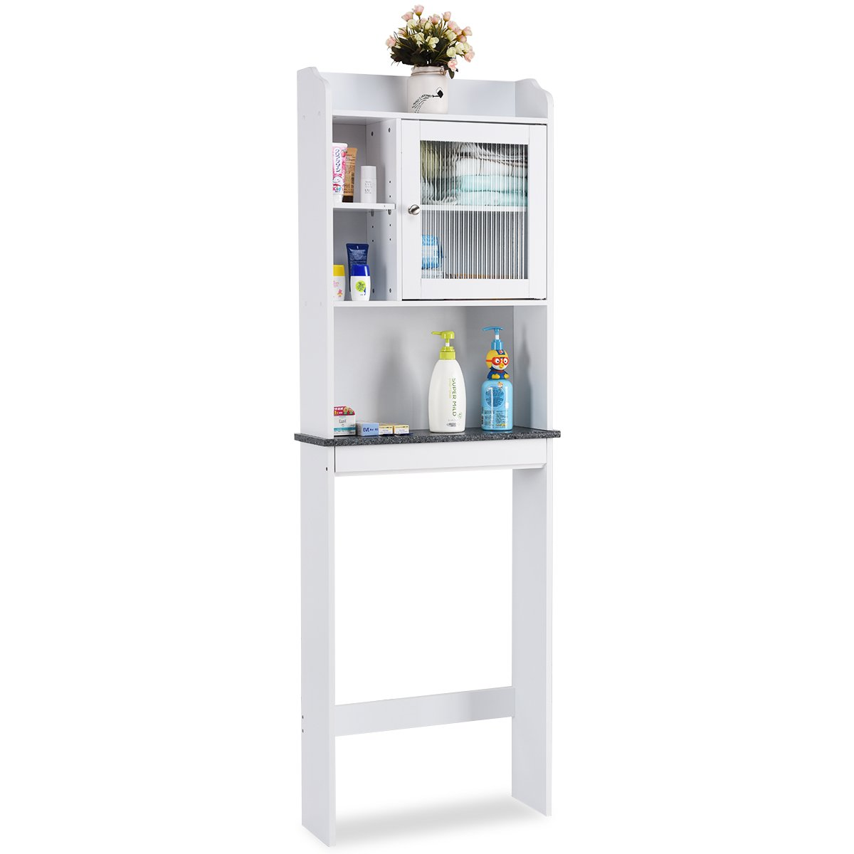Giantex Over-the-Toilet Space Saver Collette Bathroom Spacesaver with Storage Rack Cabinet, White & Black