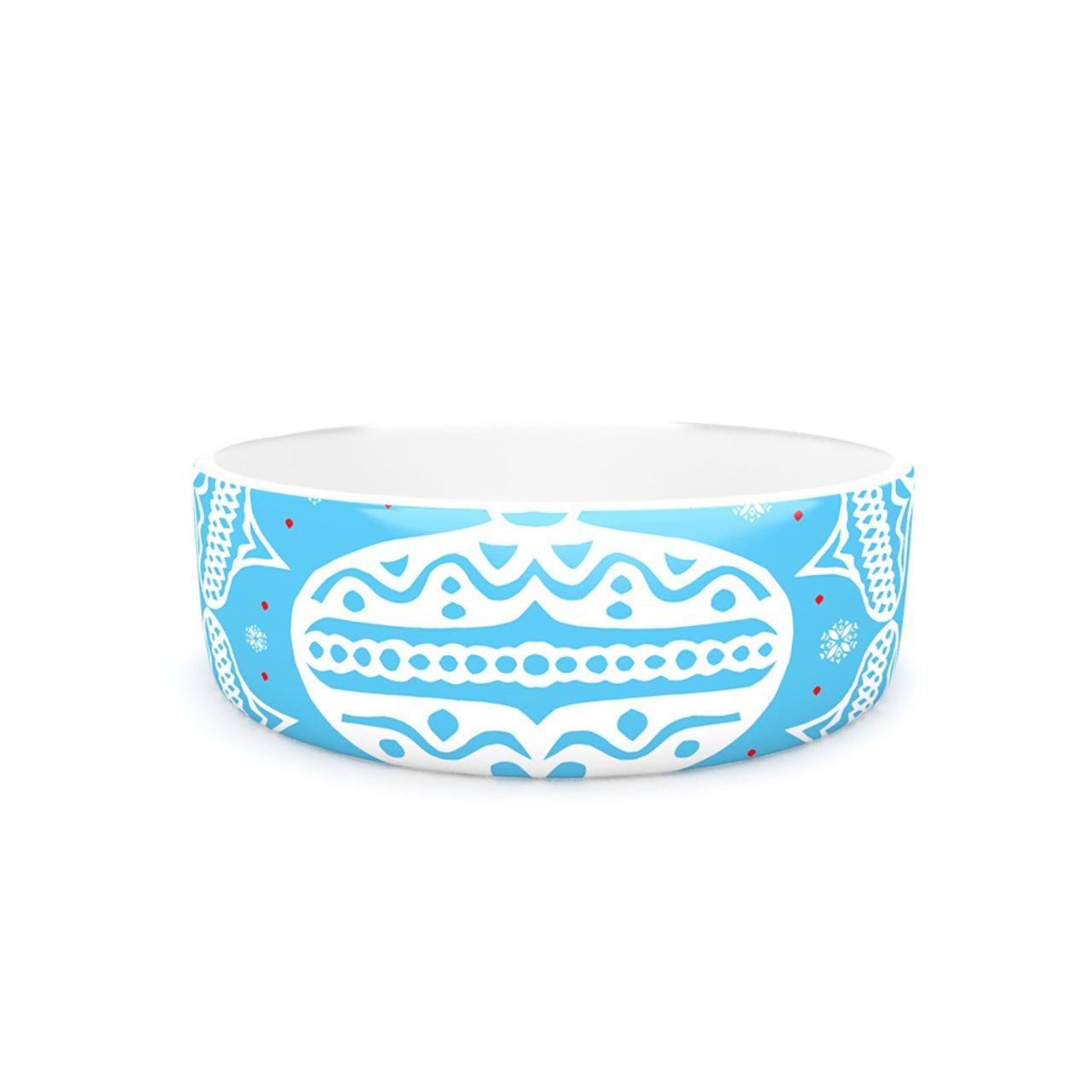 Kess InHouse Miranda Mol Deco Wreath bluee  Pet Bowl, 7-Inch, Aqua