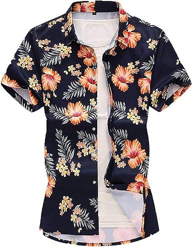 Camisa de verano de estilo chino estampada de manga corta para hombre casual suelta camisa: Amazon.es: Ropa y accesorios