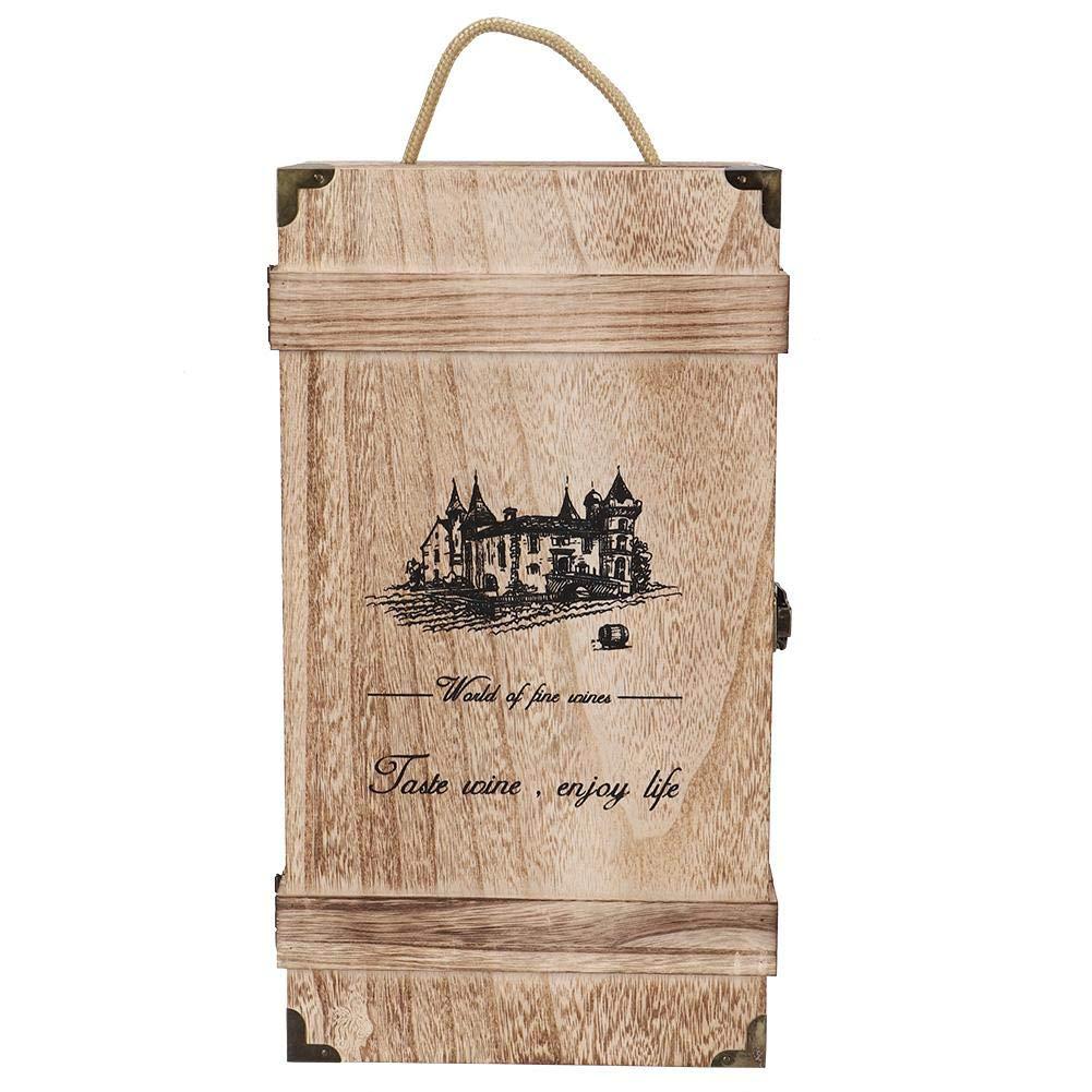 Sorand Caja de Vino Tinto Retro Vintage port/átil de Madera 2 Botellas Caja de Almacenamiento de Vino Caja de Regalo de Vino Caja Decoraci/ón con Cuerda para Bodega//Oficina//Sala de Estar