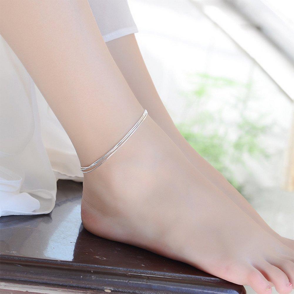 Qingsun Donna Bracciale Cavigliera tre strati argento stile classico
