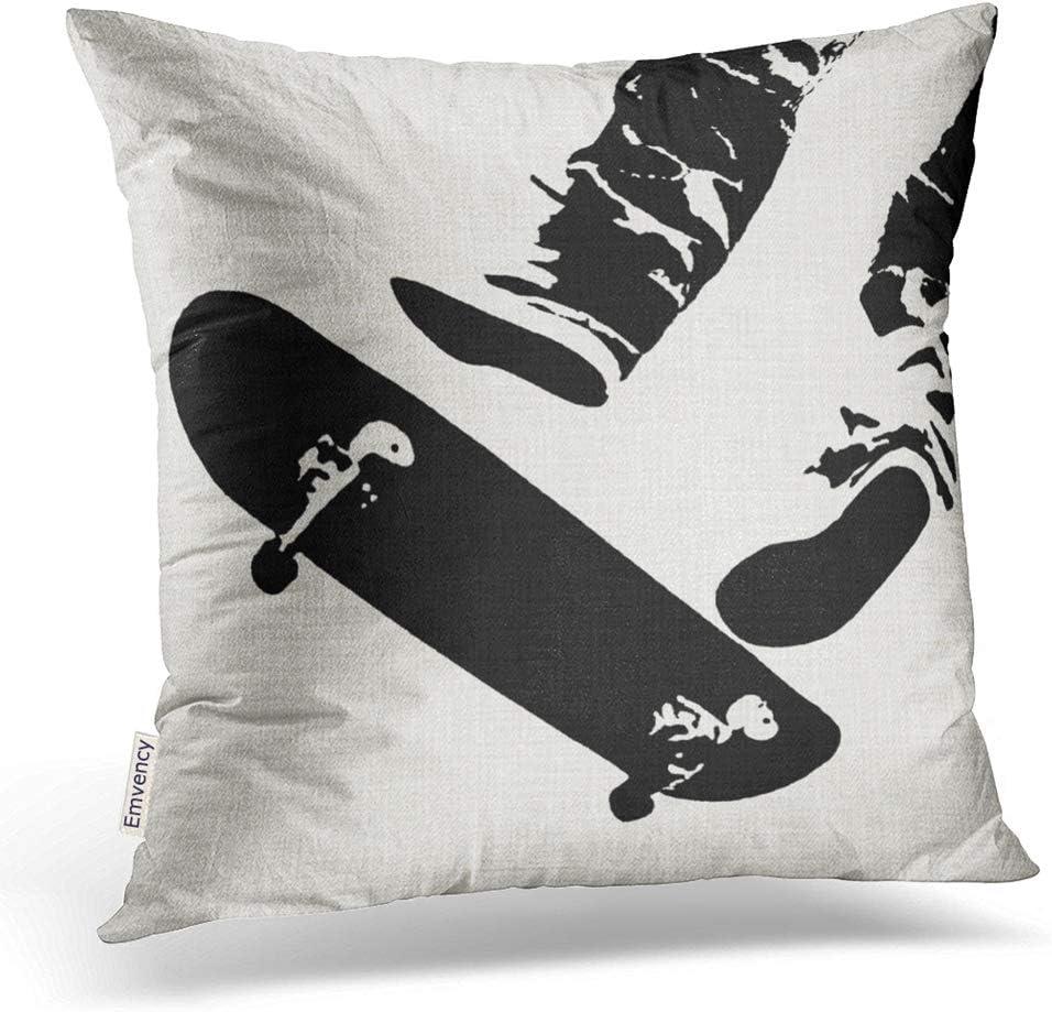 Emvency Throw Pillow Covers Skateboard Jump Black And White Decor Pillowcases Polyester 18 X 18 Inch Square Hidden Zipper Home Cushion Decorative Pillowcase