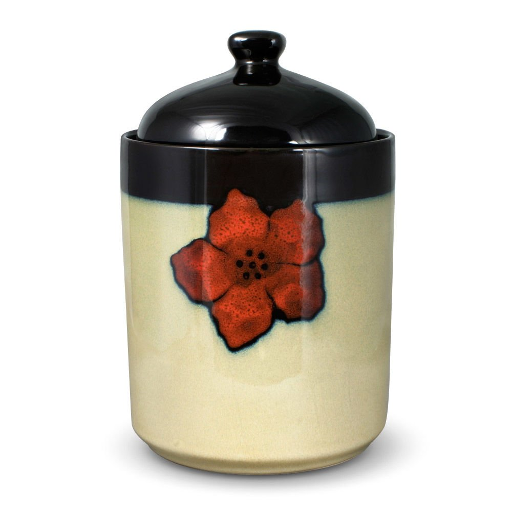 Pfaltzgraff Painted Poppies Large Canister, 8.5-Inch