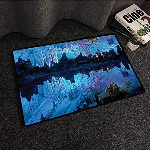 DILITECK Door mat Customization Natural Cave Illuminated Reed Flute Cistern with Artifical Lights Crystal Palace Myst Cave Image Durable W30 xL39 Blue