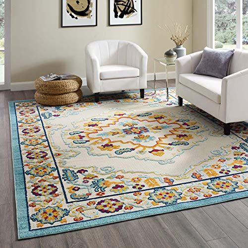 Modway Ansel Distressed Vintage Floral Persian Medallion Indoor/Outdoor UV-Resistant Area Rug, 8x10, Multicolored - Floral Sisal Rug