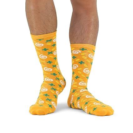 Luckies of London Soup Socks Graciosos Calcetines de Hombre y Mujer, Zanahoria y Cilantro,