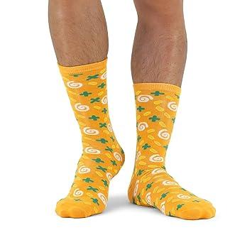 Luckies of London Soup Socks Graciosos Calcetines de Hombre y Mujer, Zanahoria y Cilantro, Algodón, Amarillo, 0.5x16x34 cm: Amazon.es: Hogar