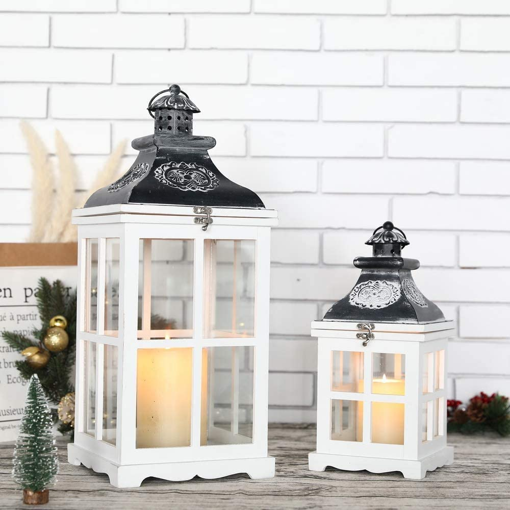 """JHY DESIGN Set of 2 White Wood Decorative Candle Lanterns 21.5""""&14"""" High Metal Lanterns for Indoor Outdoor Events Parities and Weddings Vintage Style Hanging Lantern (White Wood, Antique Grey Metal)"""