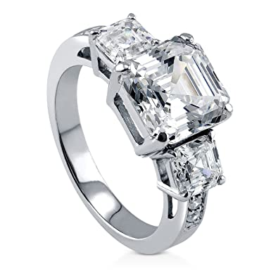 .925 Sterling Silver 3 Mm Cz 3-stone Engagement Ring Jewelry & Watches Engagement & Wedding