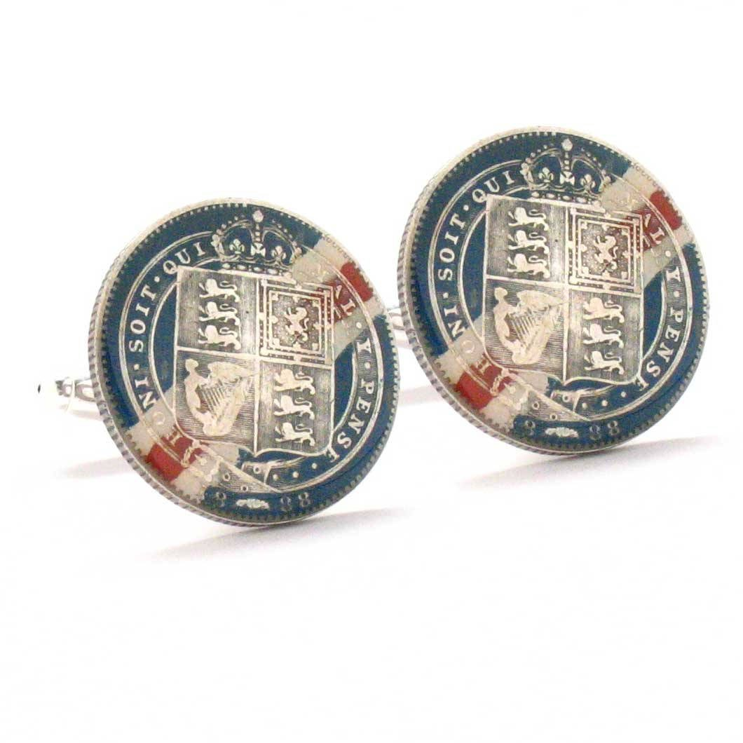 British Shilling Cufflinks Cuff Links Flag Coin Silver Hand Painted Vintage Antique Victorian England UK by Marcos Villa