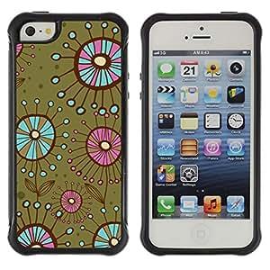 "Pulsar iFace Series Tpu silicona Carcasa Funda Case para Apple iPhone SE / iPhone 5 / iPhone 5S , Las bacterias flores verde del trullo"""