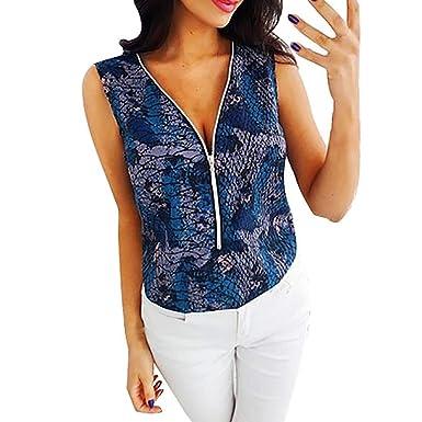 Chaleco de Mujer Camiseta Sin Mangas Cremallera de Color sólido ...