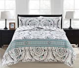 Great Bay Home 3-Piece Printed Quilt Set with Shams. All-Season Cotton-Polyester Bedspread with Abstract Large Scale Geometric Pattern. Farrah Collection By Brand. (Twin, Grey)