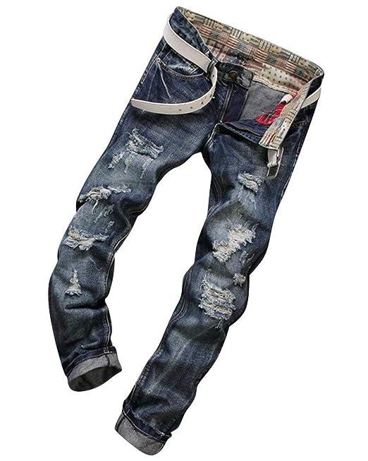 1cde5ad5e3b41 Jean Droit Hommes Slim Fit Biker Jeans Trous Déchirés Pantalon Denim  Classique Den Den Pants Pantalon Décontracté Garçons  Amazon.fr  Vêtements  et ...