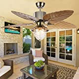 Andersonlight Palm 52-Inch Tropical Ceiling Fan with Five Leaf Blades, Remote Control, Reversible Airflow, Quiet Multi-Speed Motor, Antique Brass, Home Decoration