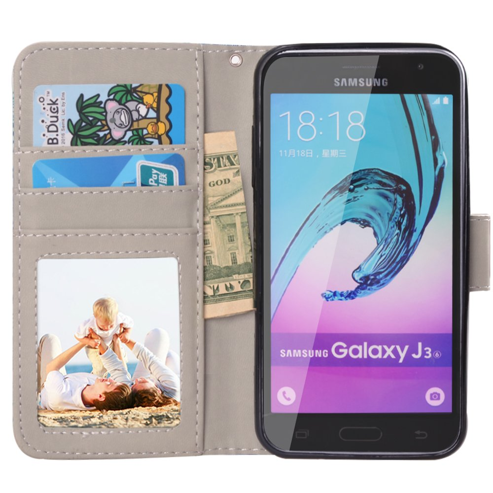 J3 2016 Case, MagicSky Galaxy J3 Wallet Case Folio Flip Premium PU Leather Case Cover with Card Holder Slot Pockets, Wrist Strap, Magnetic Closure For Samsung Galaxy J3 (2016) SM-J320 5.0\