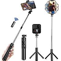 Selfie Trípode Bluetooth,Trípode para Celular Cámara,360°Rotación Extensible Selfie Stick Inalámbrico Palo Selfie…