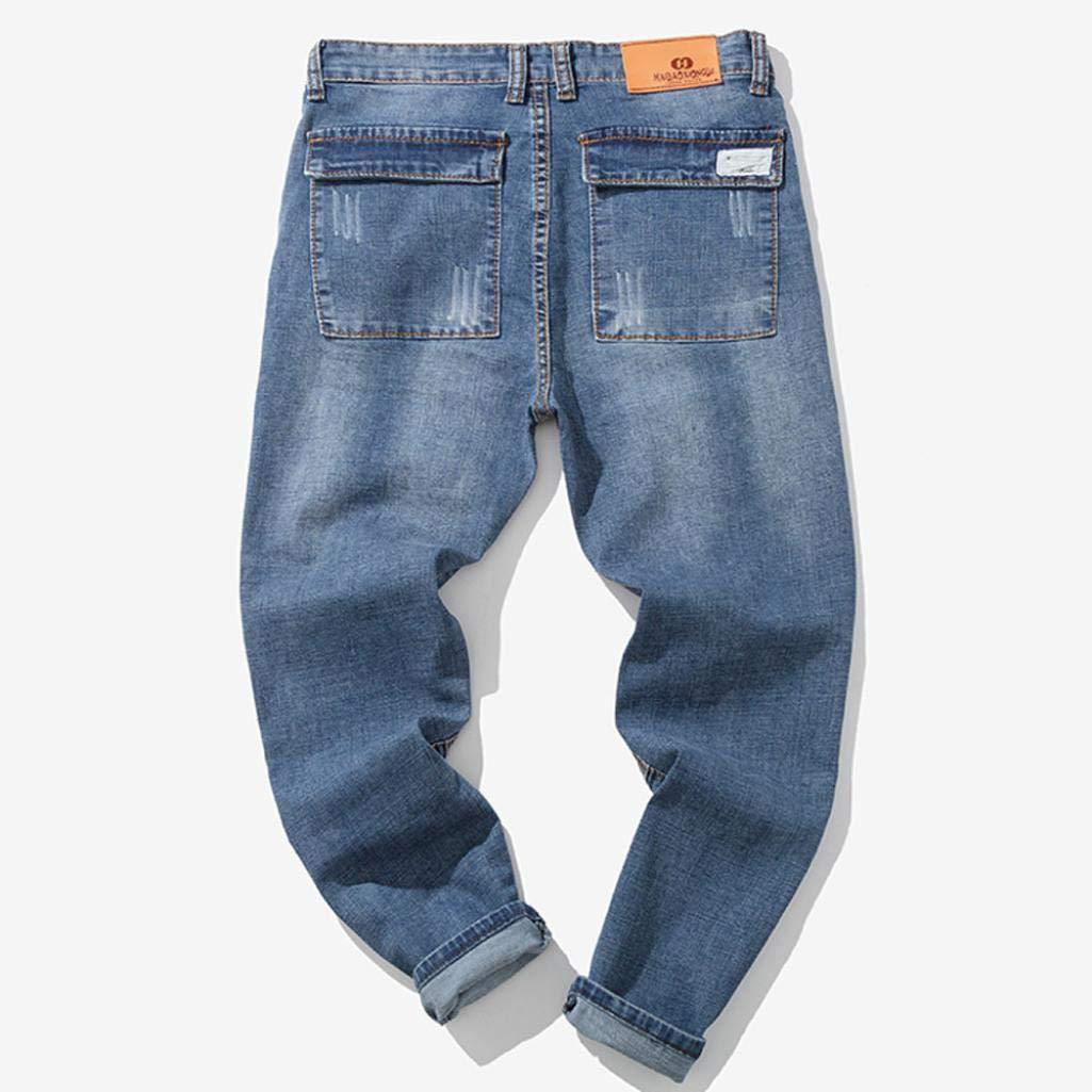 Alimao 2018 Men's Pants Casual Autumn Zipper Patchwork Denim Vintage Wash Hip Hop Trousers Jeans Pants by Alimao (Image #2)