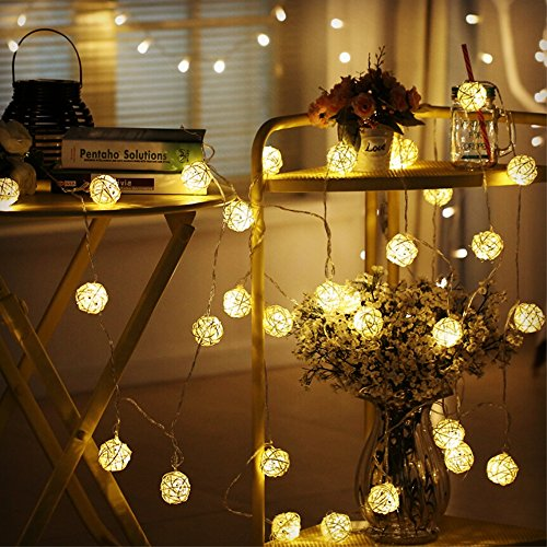 Globe Rattan Ball String Lights, Goodia 13.8feet 40 LED Warm White Fairy Light for Indoor,Bedroom,Curtain,Patio,Lawn,Landscape,Fairy Garden,Home,Wedding,Holiday,Christmas Tree,Party by Goodia (Image #5)