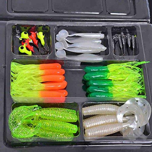 35pcs Plastic Worm Soft Fishing Lure Set + 10 Lead Jig Hooks Simulation Suite Fishing Baits Pesca Tackle
