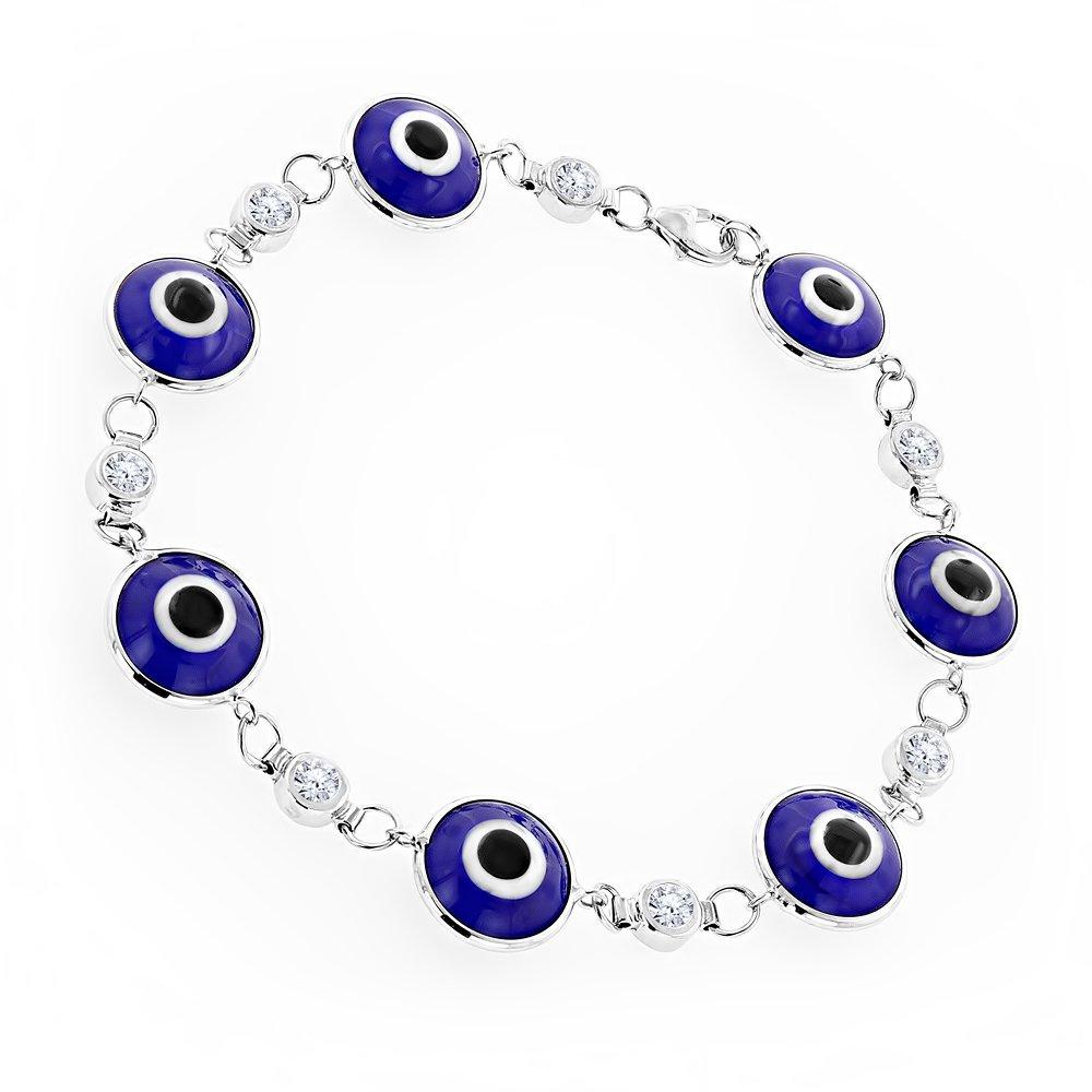 Luxurman 14K Natural 0.7 Ctw Diamond Evil Eye Bracelet Blue Color (White Gold)