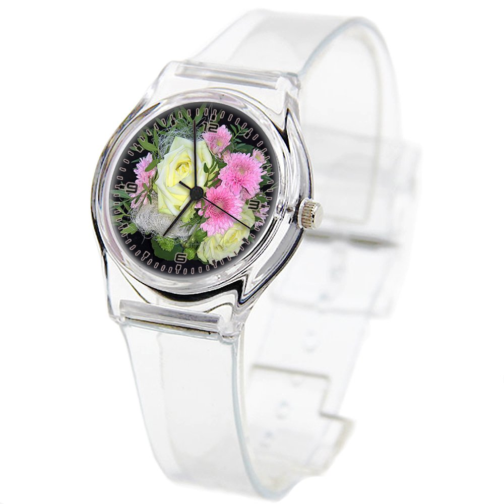 Personality Transparent Wristwatch Transparent Strap Summer Decoration Woman Child teacher Teen Young Girls Children Kids Watches Colorful Flower-090.Bouquet, Nice Compilation, Close, Black Background