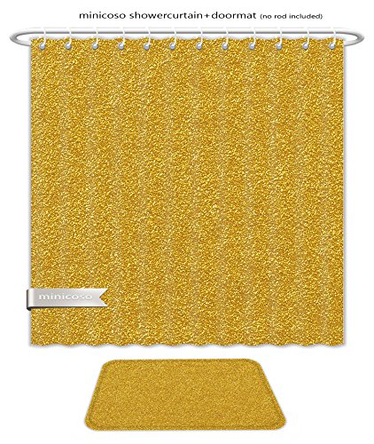 Minicoso Bath Two Piece Suit: Shower Curtains and Bath Rugs Gold Foil Texture Background Shower Curtain and Doormat Set (Copper Divi Foil)