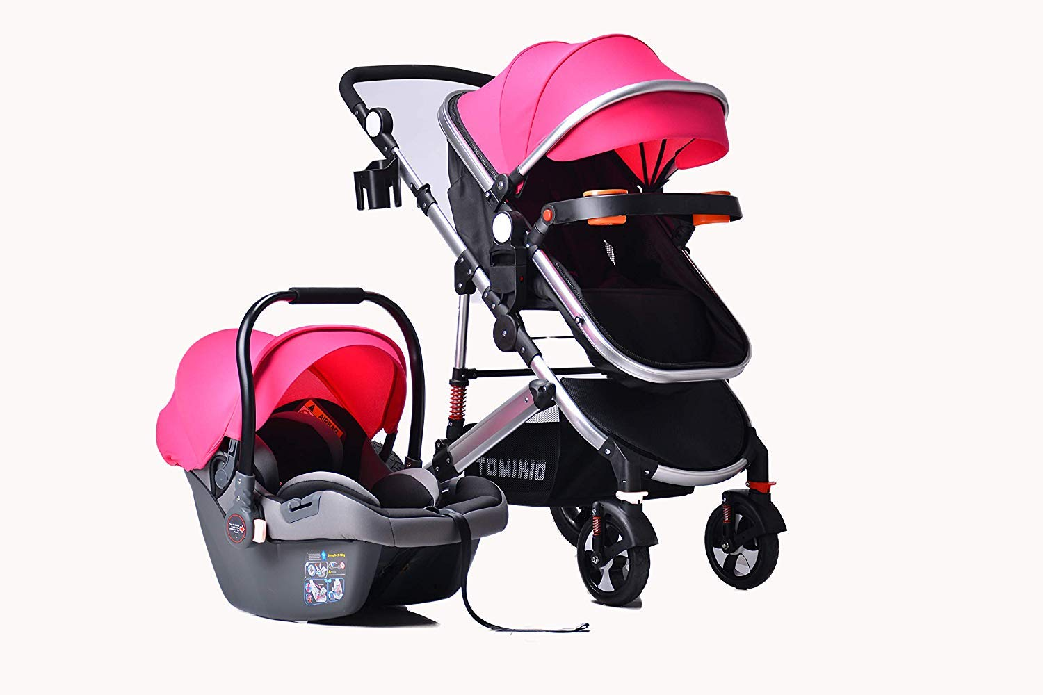 3 in 1 Combi Stroller Buggy Baby Child Pushchair Reverse or Forward Facing Rain Cover Mosquito Net Bottle Holder Foldable with FootMuff Rose Red (Pink) with Silver Frame Tomi