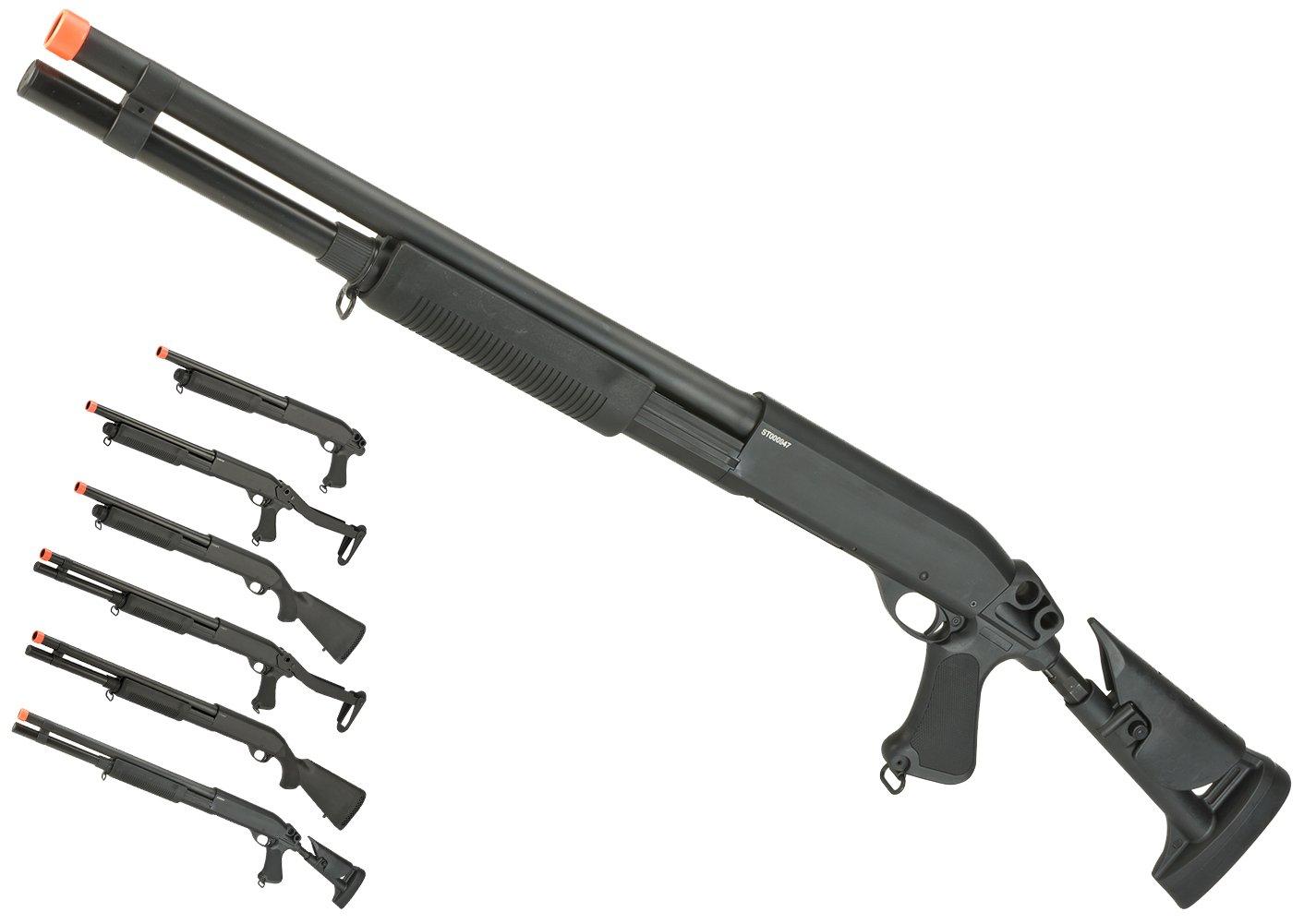Evike - CYMA Full Metal M870 3-Round Burst Multi-Shot Shell Loading Airsoft Shotgun - Retractable Stock/Long Barrel - (60168) by Evike