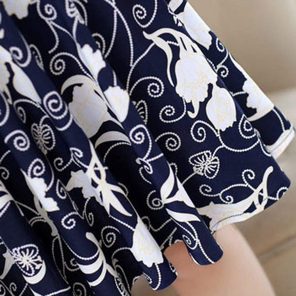 Smemek Robe Classique Femme Vintage Style D\'été Sexy Mini Dress Courte Imprimé Florale Jupes Robe De Printemps Manches Courtes (XL, Bleu Fonce)
